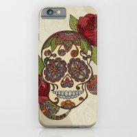 sugar skull iPhone & iPod Cases featuring Sugar Skull by Valentina Harper