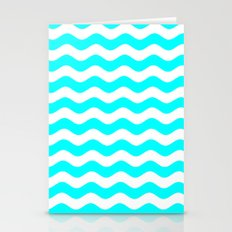 Wavy Stripes (Aqua Cyan/White) Stationery Cards