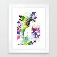 Bella fashion watercolor portrait Framed Art Print