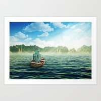 Swim back to shore Art Print