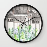 Wall Clock featuring Stilts by David Fleck