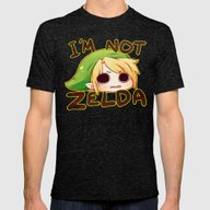 Link Is Not Zelda Mens Fitted Tee Tri-Black SMALL