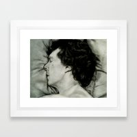 Sherlock Asleep - Pencil and Charcoal Framed Art Print