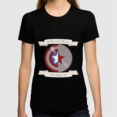 Steve Rogers and Bucky Barnes Shield Womens Fitted Tee Black SMALL