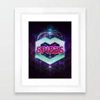 Spires 80's Neon  Framed Art Print