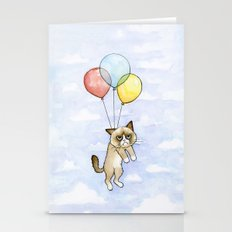 Cat With Balloons Grumpy… Stationery Cards