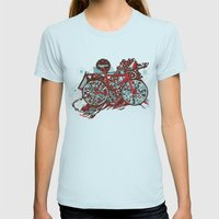 FIX TRIP ~ GREY Womens Fitted Tee Light Blue SMALL