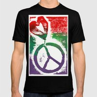 Peace & Love Mens Fitted Tee Black SMALL