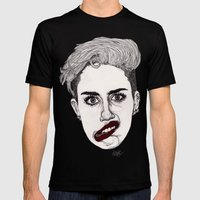 Miley With Red Lips Mens Fitted Tee Black SMALL