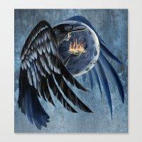 Shamanic Raven Woman Canvas Print