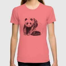 Panda Bear // Endangered Animals Womens Fitted Tee Pomegranate LARGE