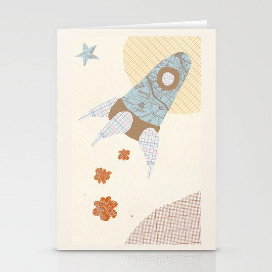 spaceship collage Stationery Card