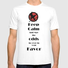 Keep Calm And May The Odds SMALL White Mens Fitted Tee