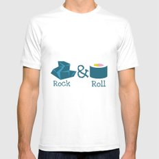Rock&Roll Mens Fitted Tee SMALL White