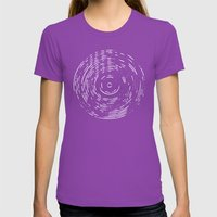 Record White On Black Womens Fitted Tee Ultraviolet SMALL