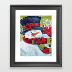 Snowman With Scarf Framed Art Print