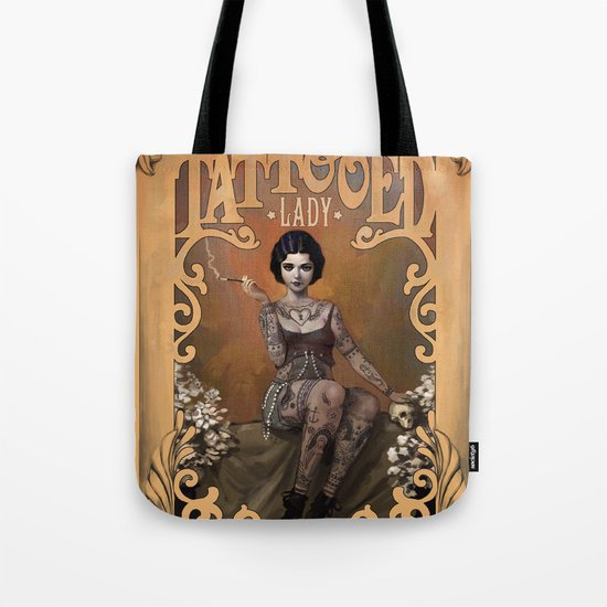 The Amazing Tattooed Lady Tote Bag