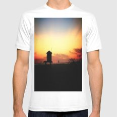 Sunset in Long Beach White Mens Fitted Tee SMALL