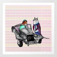 Animals and cars Art Print