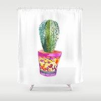 Cactus Watercolour Shower Curtain