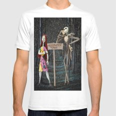 Halloween Town | Jack | Sally | Christmas | Nightmare SMALL Mens Fitted Tee White