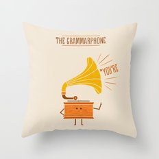 Grammarphone Throw Pillow