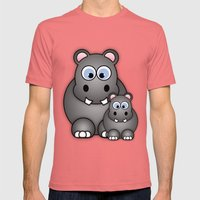 Hippos. Mens Fitted Tee Pomegranate SMALL