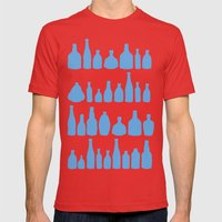 Bottles Blue Mens Fitted Tee Red SMALL