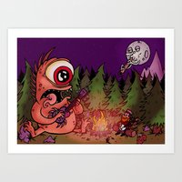 Campfire blues Art Print