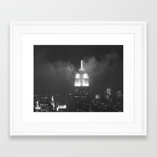 Gotham city in black and white Framed Art Print