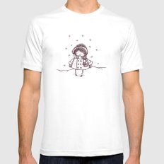 Snowfall White Mens Fitted Tee SMALL