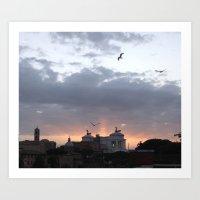 Flying over Rome Art Print