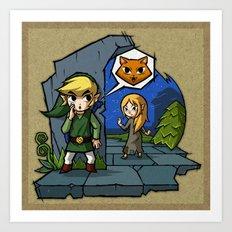 Legend of Zelda Wind Waker Meow T-Shirt Art Print