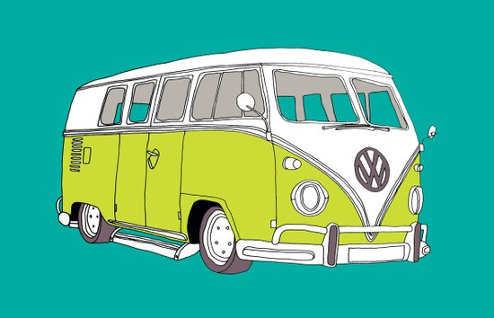 VW // VOLKSWAGEN CAMPER VAN // KOMBI (turquoise with green van) Art Print