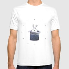Mr. Rabbit and the Mad Hatter hat SMALL Mens Fitted Tee White