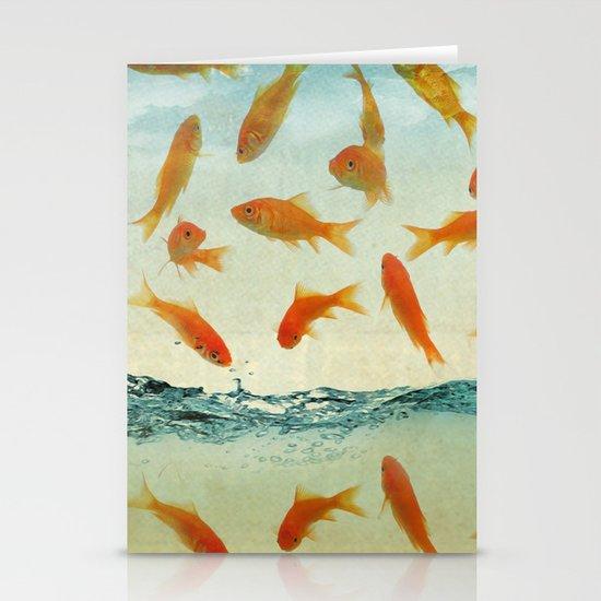 raining gold fish Stationery Card