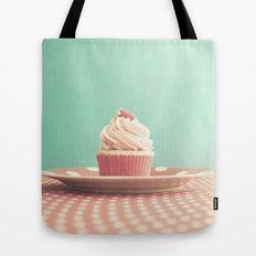 Pastel strawberry cupcake on Polka Dots Table  Tote Bag