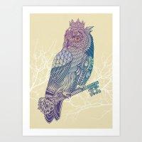 Owl King Color Art Print