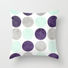Circles (Mint, Purple, Gray) Throw Pillow