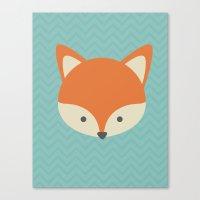 Fox Minimal Illustration Canvas Print
