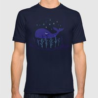 Whale Night Mens Fitted Tee Navy SMALL