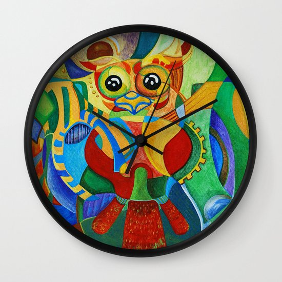 Rainbow Owl Wall Clock