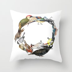 Bird Wreath Throw Pillow