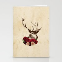 Stag, Deer, Flowers, Vin… Stationery Cards