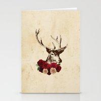 Stag, deer, flowers, vintage, roses, rustic Stationery Cards