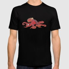 Red Octopus SMALL Mens Fitted Tee Black