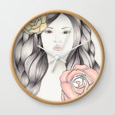 Whimsical Face with Pastel Roses Wall Clock