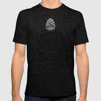 Pine Cones Monochrome On… Mens Fitted Tee Tri-Black SMALL