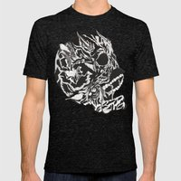 Skull Moustache Mens Fitted Tee Tri-Black SMALL