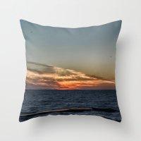 Summer Sunset On Lake On… Throw Pillow